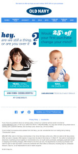 Old Navy Opt-Out Email