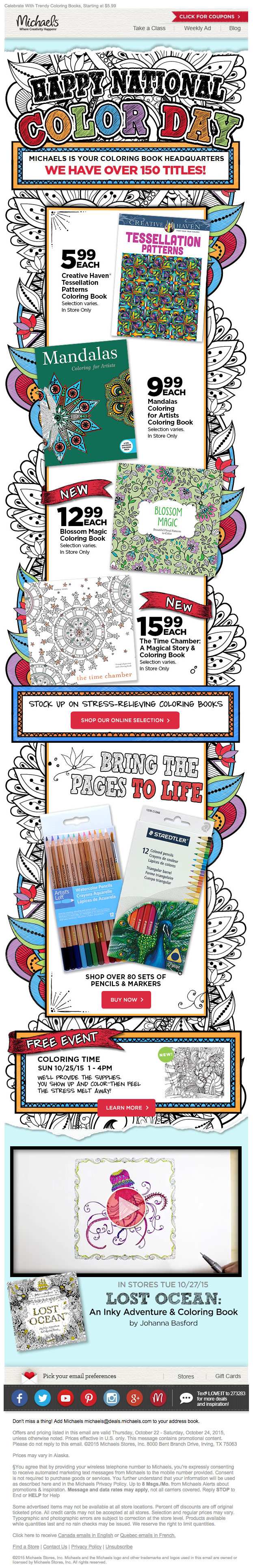 Michaels Sheds Light On National Color Day In This Email The Design Receives An A My Book I Love Incorporation Of Coloring Page Doodles